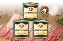 Lot de 3 blocs de foie gras de canard du Sud-Ouest 100g